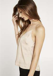 Bardot silky white cami top 白色絲質吊帶背心