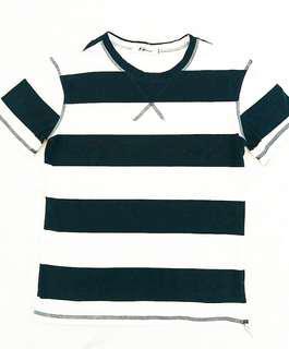 🚚 藏青色條紋圓領棉質T恤