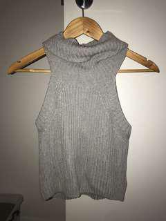 Grey knit high neck