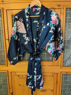 Navy patterned kimono - M/L