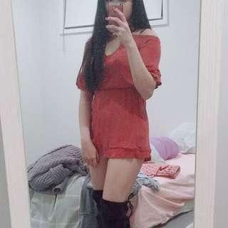 Strappy off shoulder dress