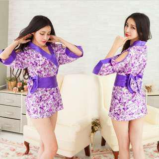 Kimono Japanese Style Robe Costume Lingerie Purple