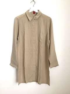 Brown Button-Down Shirt Dress