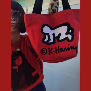 Keith Haring red embroidered tote, a stunning piece!