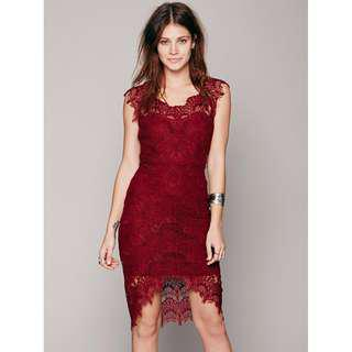 Free People Bodycon Lace Slip Dress NEW!