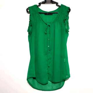 Zara Green Chiffon Button Down Sleeveless Blouse