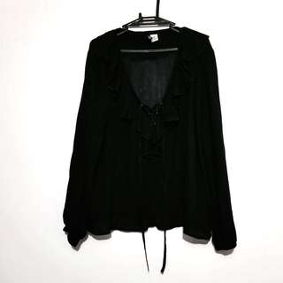 H&M Black Frilly Linen Blouse