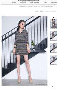 Hollyhoque Lainely printed shift dress (yellow)