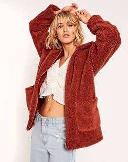 Teddy Coat Jacket Rust