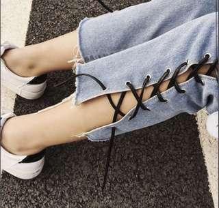 Leather Lace Up Blue Jeans Denim