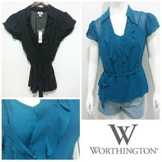 Worthington Front Ruffle Blouse