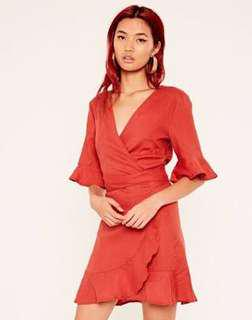 DEEP RED WRAP DRESS