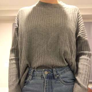 GLASSONS GREY RIBBED SWEATER SIZE M