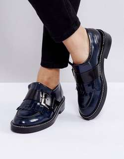 Leather Flat Shoes Navy Brogues