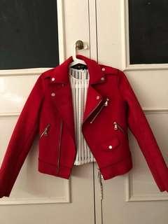 Red Suede Motor Jacket
