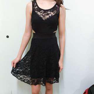 Black Lace sexy cutout Dress