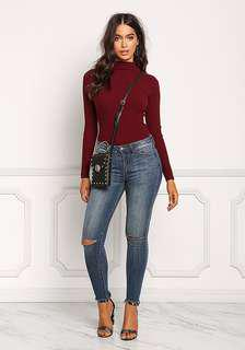 H&M mock neck ribbed top