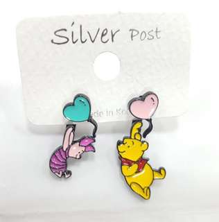 Disney Winnie the Pooh and piglet balloon earrings studs