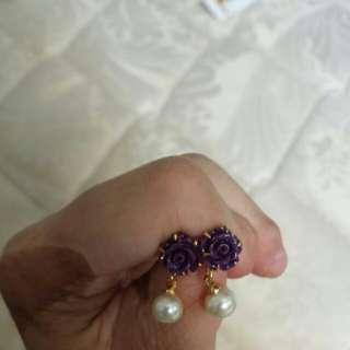 Purple Rose Earring