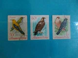 Set of 3 Hungary Stamps Birds