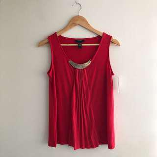 *BRAND NEW* Red Top with Gold Plate