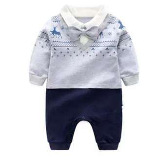 🚚 FREE MAIL📫[3-9M] 100% Cotton Long Sleeve Formal Baby Romper / Bodysuit / Onesie