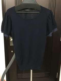 日本品牌a.v.v 深藍針織ruffle袖上衣