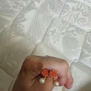 Peach Rose Earring