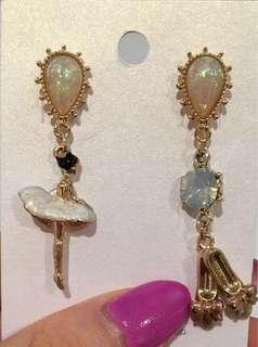 Opal Ballerina Ballet Shoes Earrings Korean Made