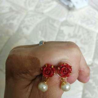 Maroon Rose Earring