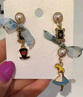Disney Alice in Wonderland Blue floral lace Ace and Heart Card Earrings