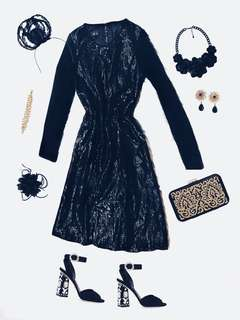 ▪️Gleaming Midnight Bodycon Sheath With Black Gems & Origami Fabric Appliqués - Shimmering Viscose Liquid Noir Formal Zip Up Dress With Gathered Hem