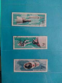 Set of 3 Hungary stamps Space Crafts