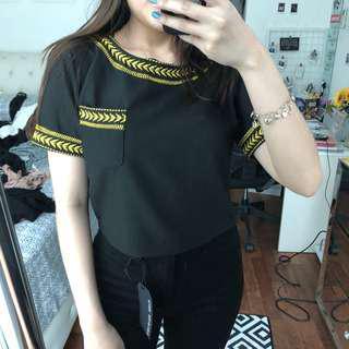 Designed Black & Gold Cropped Top