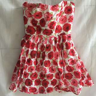 Mini Dress Red Flower Cantik Banget