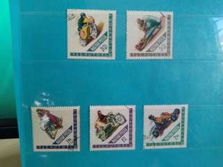 Set of 5 Hungary Stamps Motor Sports