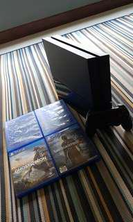Ps4 500gb with one controller and games. 5 games.. Uncharted4 ,Ghost recon wildlands,Plants vs zombies,  Fifa17 , assassin creed origin
