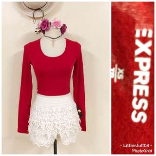 Express Red Cropped Top