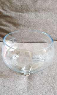 Glass Bowl with stand D20cm H13cm