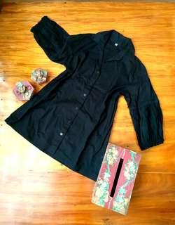 Black Puffed Sleeves Top