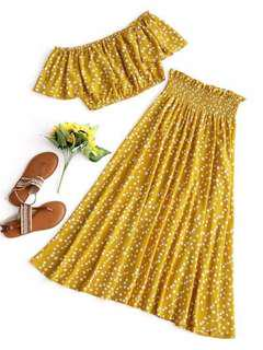 Zaful Womens Polka Dot Crop Top And Skirt Set - Mustard S Pleated