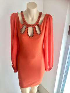 Citrine orange sexy back cutout dress flowing long sleeves