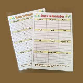 Laminated Aid to Help Remember Important Dates , Expiring Food etc.