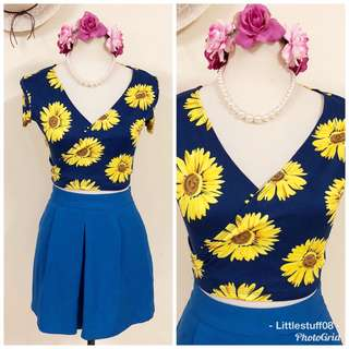 Sunflower Front Twist Croptop