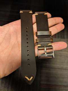 22mm dark brown watch strap