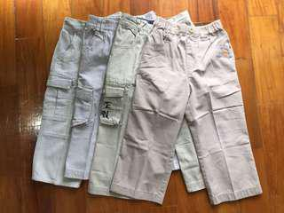 (3-5 yrs) Set of 4 Khaki/Beige Branded Boys' Pants