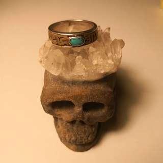 西藏藏文綠松石銀戒指Tibet Silver Ring