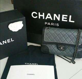 Chanel Duo Tone Medium Flap Calfskin Bag