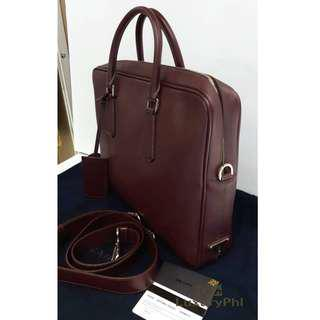 Brandnew Authentic Prada Messenger Bag Saffiano Leather Maroon ShW