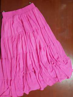 Pink Flowy Maxi Skirt for Ladies